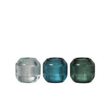 J -Line Theelichthouder Glas Rond  Geribbeld Groen - Blauw