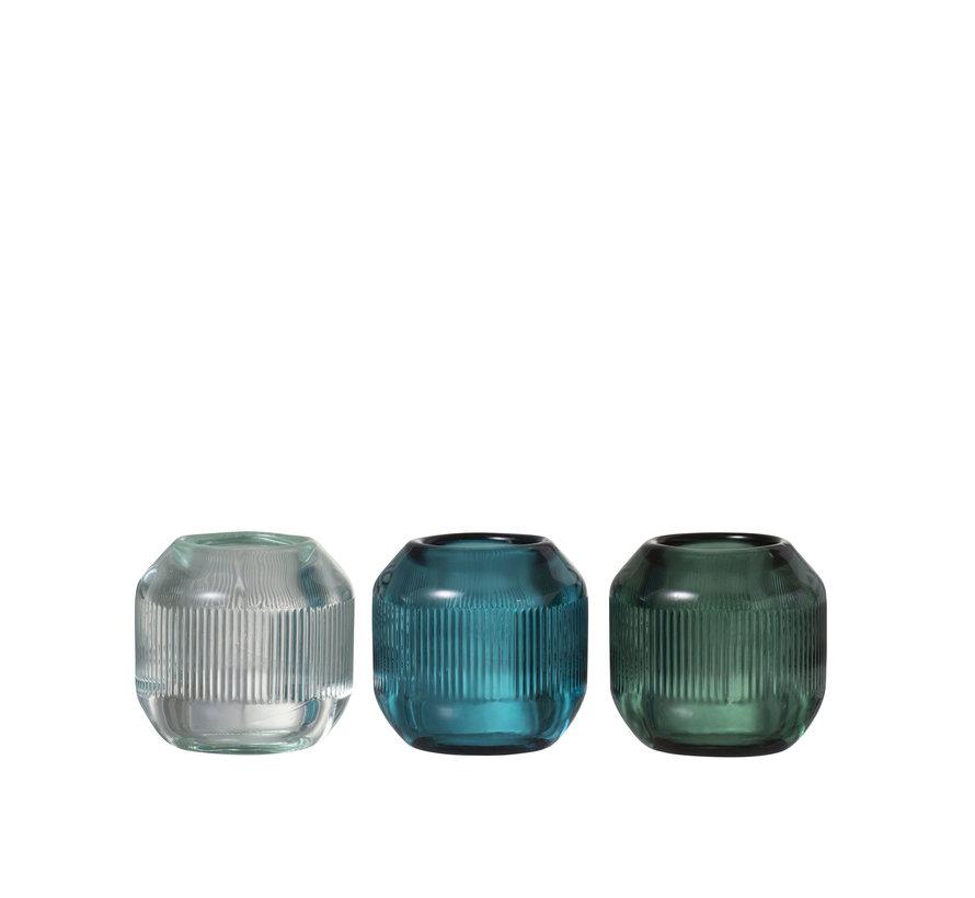 Theelichthouder Glas Rond  Geribbeld Groen - Blauw
