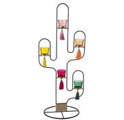 J-Line Theelichthouder Cactus Hout Metaal Mix - Kleuren