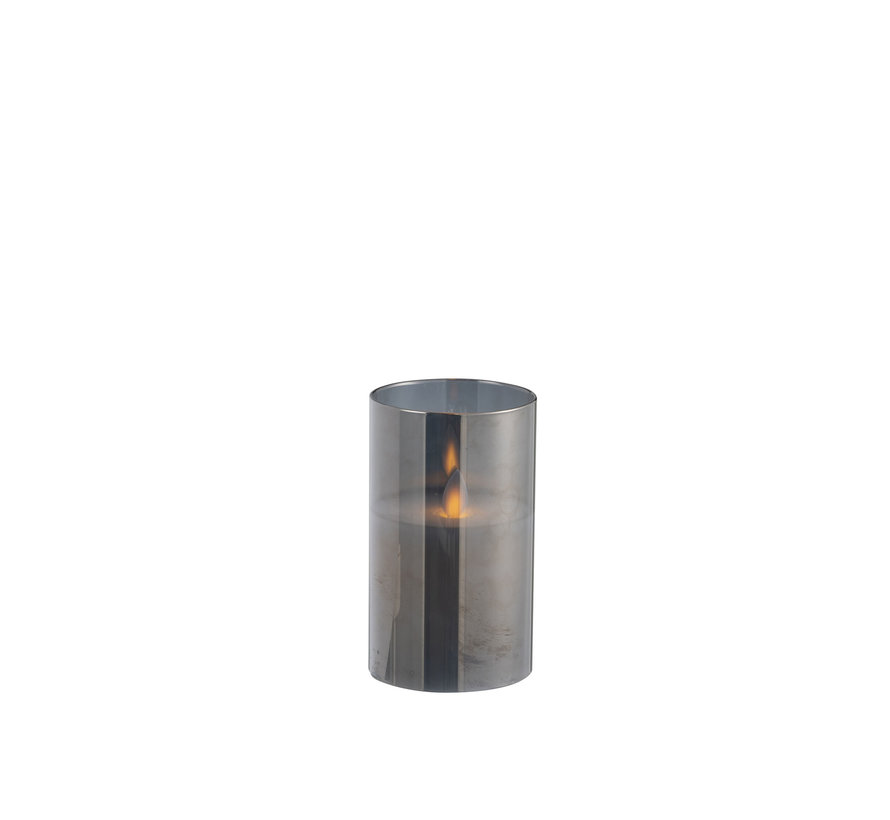 Led Candle Cylinder Shiny Silver - Small