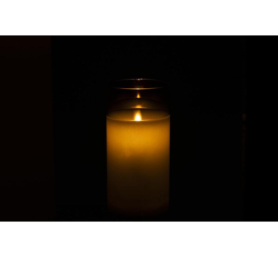 Led Candle Cylinder Shiny Silver - Medium