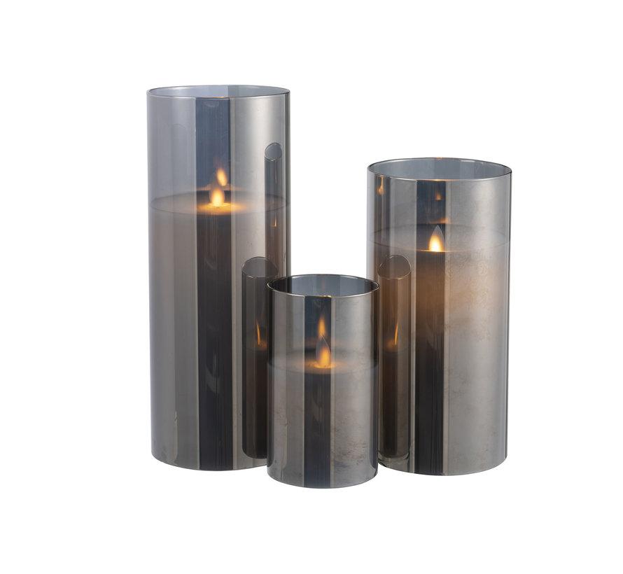 Led Kaars Cilinder Blinkend Zilver - Large