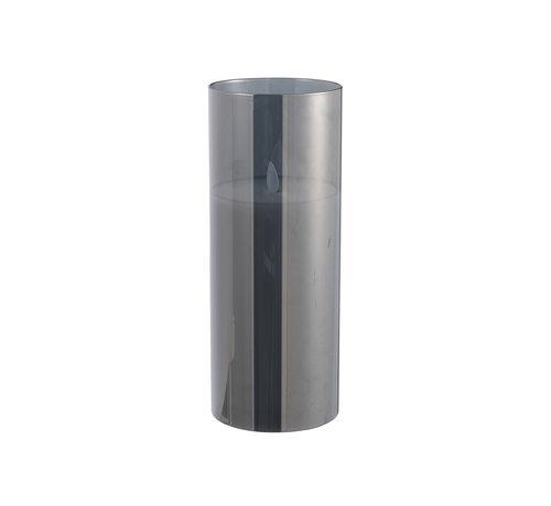 J -Line Led Kaars Cilinder Blinkend Zilver - Large