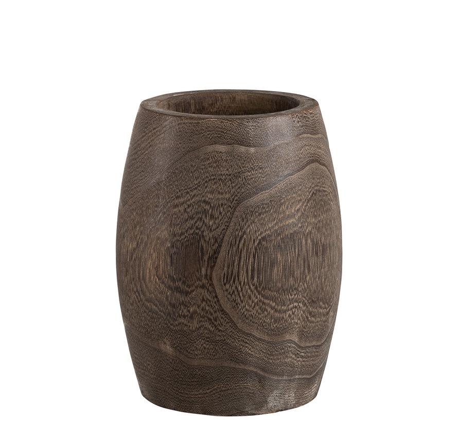 Flowerpot Cylinder High Dark Brown - Small
