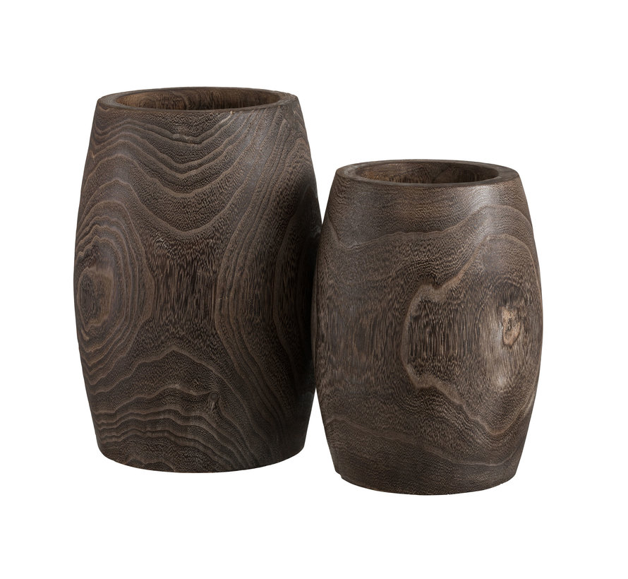Flowerpot Cylinder High Dark Brown - Large