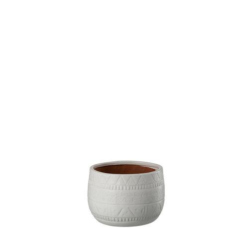 J -Line Flowerpot Terracotta Round White - Small