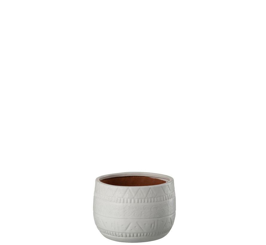 Flowerpot Terracotta Round White - Small