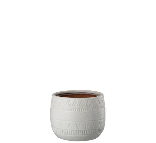 J -Line Flowerpot Terracotta Round White - Large