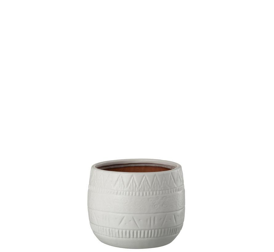 Flowerpot Terracotta Round White - Large
