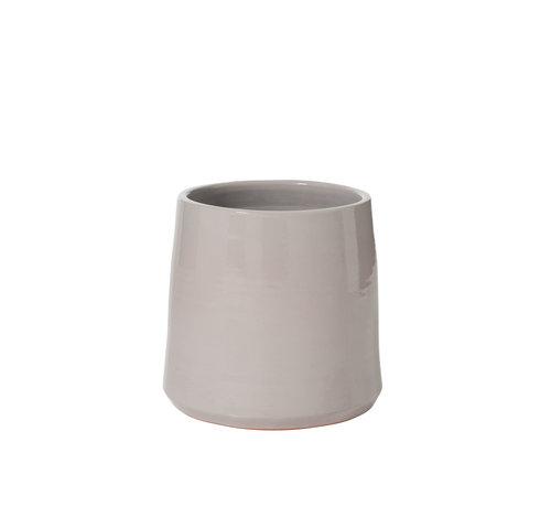 J-Line Flowerpot Ceramic Round Shiny Gray - Large