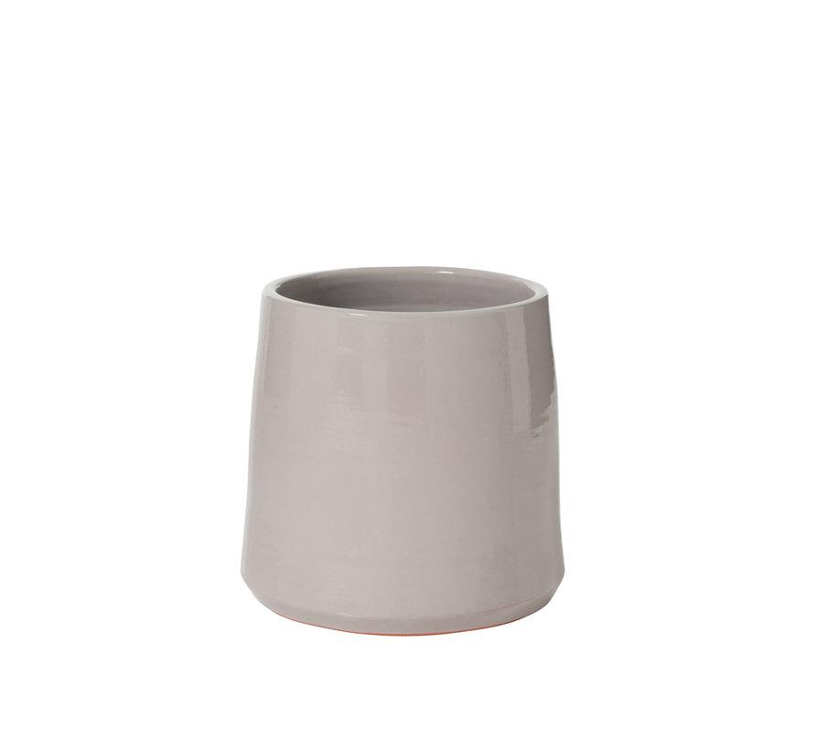 Flowerpot Ceramic Round Shiny Gray - Large