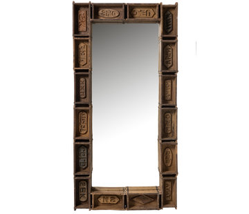 J -Line Wall mirror Rectangular Trays Recycled Wood - Brown