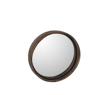 J -Line Wall mirror Plateau Round Rattan Brown - Small