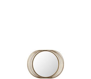 J-Line Wandspiegel Rond Ringen Metaal Glas - Goud