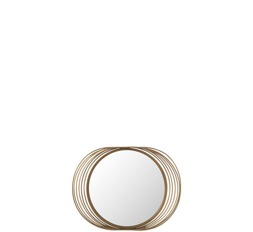 J -Line Wall Mirror Round Rings Metal Glass - Gold