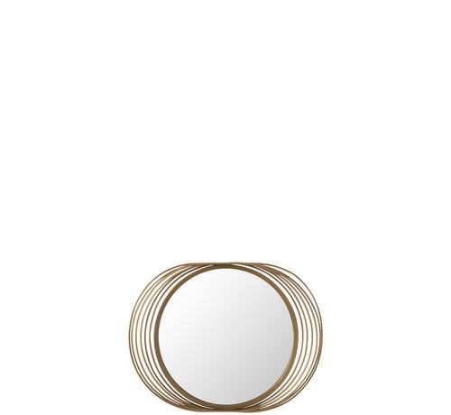 J -Line Wandspiegel Rond Ringen Metaal Glas - Goud