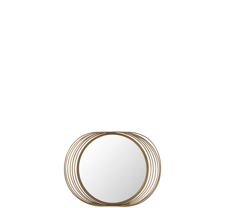 Wall Mirror Round Rings Metal Glass - Gold