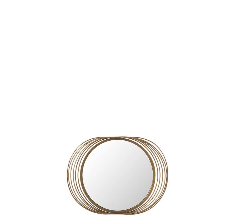 Wandspiegel Rond Ringen Metaal Glas - Goud