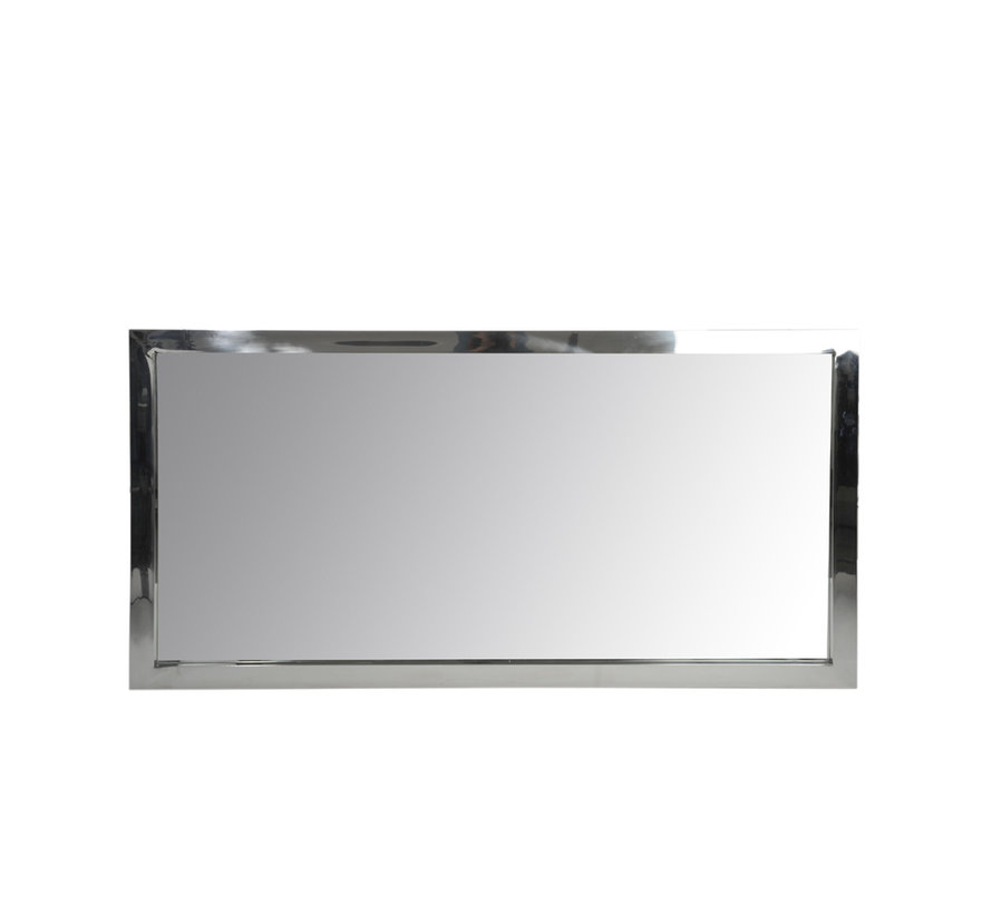 Wall Mirror Rectangular Stainless Steel Shiny - Silver
