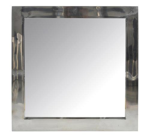 J-Line Wandspiegel Vierkant Roestvrij Staal Blinkend - Zilver