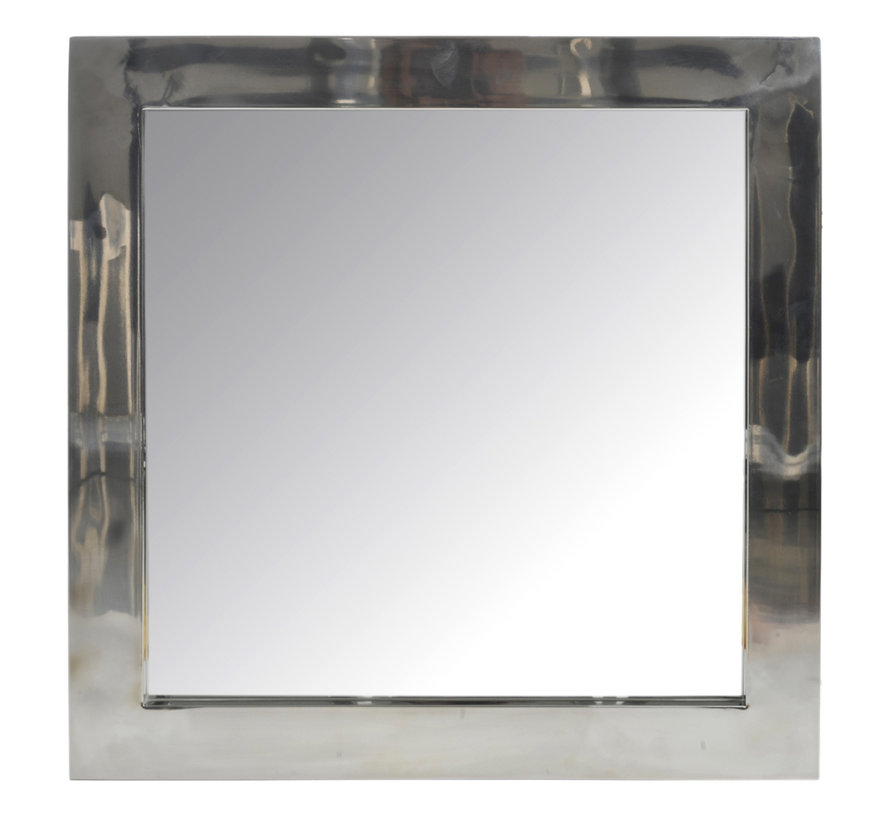 Wall mirror Square Stainless Steel Shiny - Silver