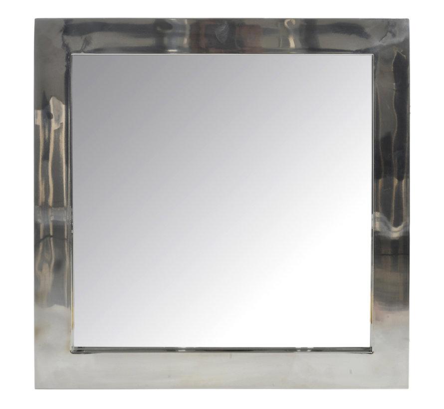 Wandspiegel Vierkant Roestvrij Staal Blinkend - Zilver