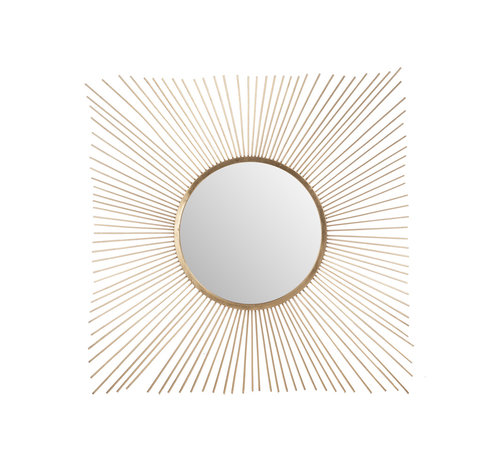 J -Line Wall mirror Sunbeams Metal Glass - Gold