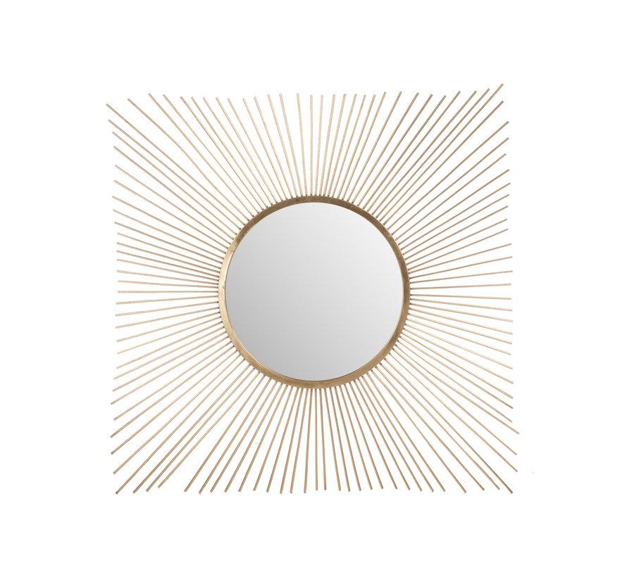 Wandspiegel Zonnestralen Metaal Glas - Goud