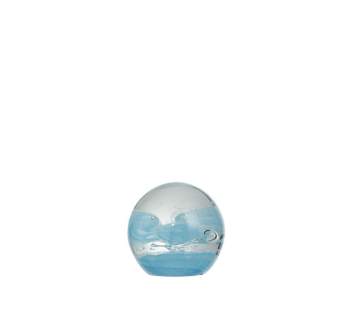 J -Line Paperweight Glass Sphere Cyclone Blue - Small