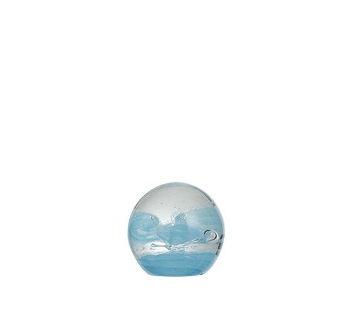 J -Line Papiergewicht Glas Bol Cycloon Blauw - Small