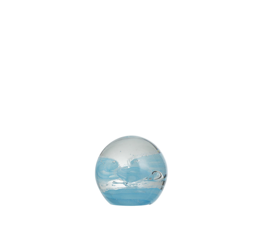 Papiergewicht Glas Bol Cycloon Blauw - Small