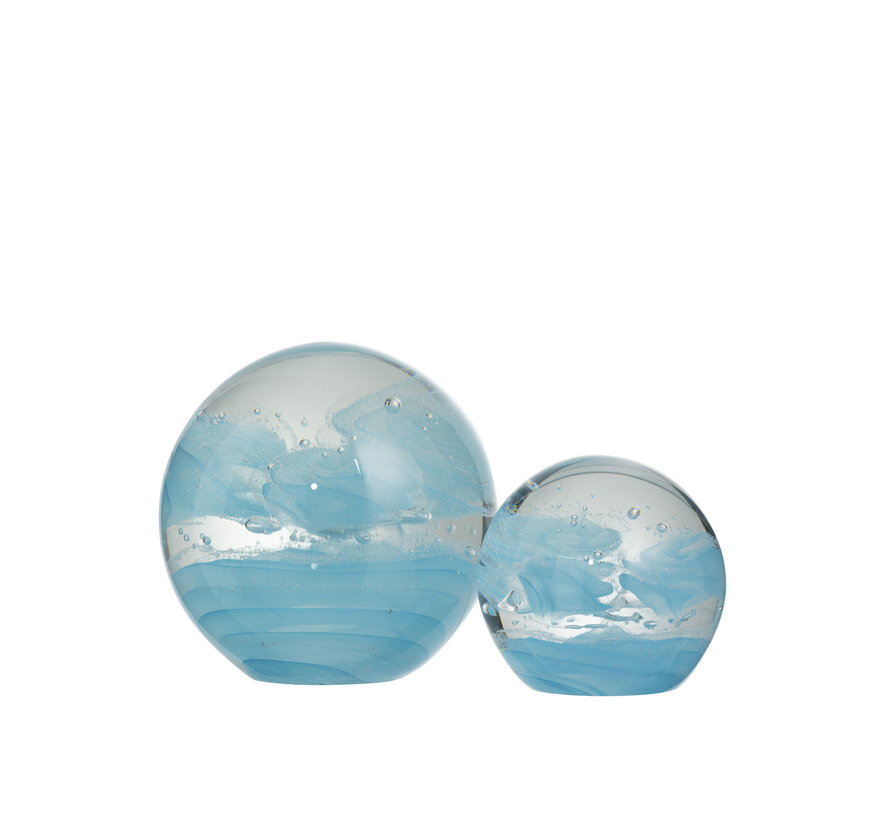 Paperweight Glass Sphere Cyclone Blue - Large