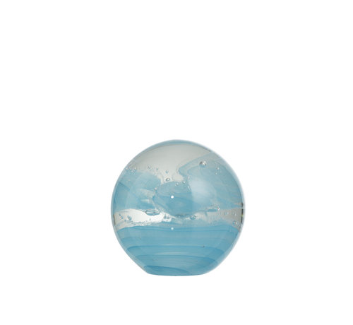 J -Line Paperweight Glass Sphere Cyclone Blue - Large