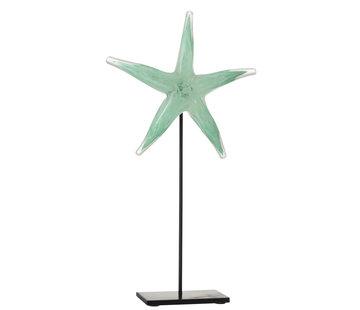 J -Line Decoration Sea Star Base Glass Iron Black Azure - Large