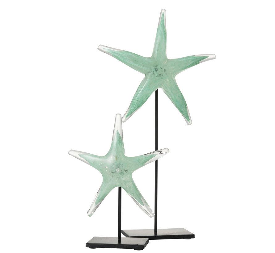 Decoratie Zeester Voet Glas Ijzer Zwart Azuur - Large