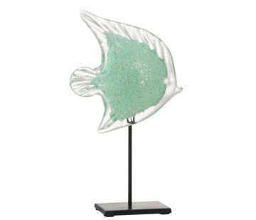 J-Line Decoratie Zeevis Voet Glas Ijzer Zwart Azuur - Large