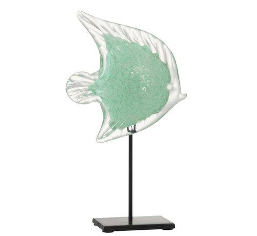 J -Line Decoratie Zeevis Voet Glas Ijzer Zwart Azuur - Large