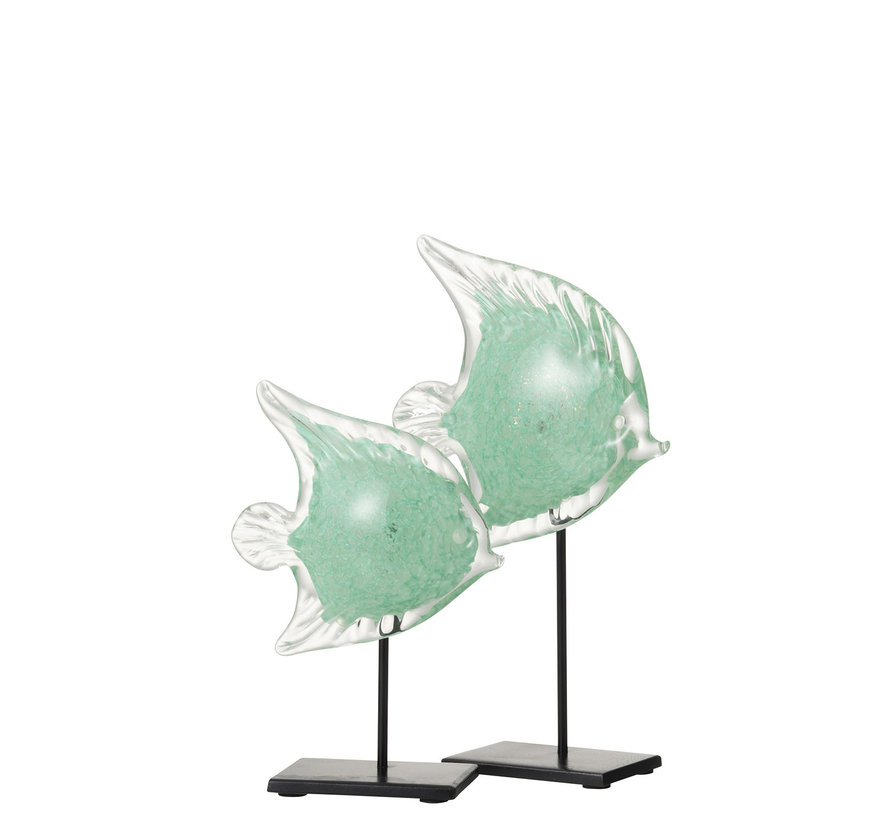 Decoratie Zeevis Voet Glas Ijzer Zwart Azuur - Large