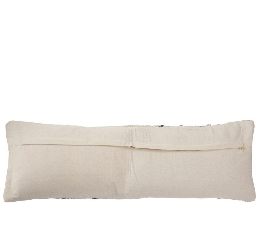 Cushion Cotton Rectangle Denim Blue - White