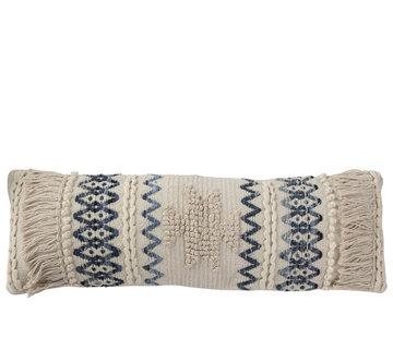 J -Line Cushion Cotton Rectangle Denim Blue - White