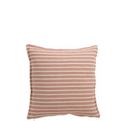 J -Line Cushion Polyester Square Stripes White - Red
