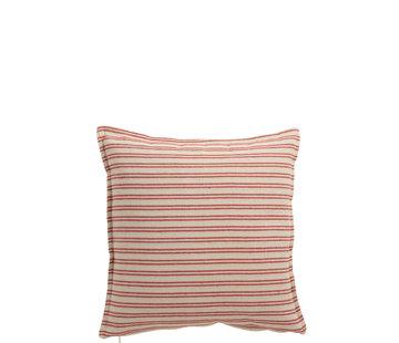 J-Line Kussen Polyester Vierkant Strepen Wit - Rood