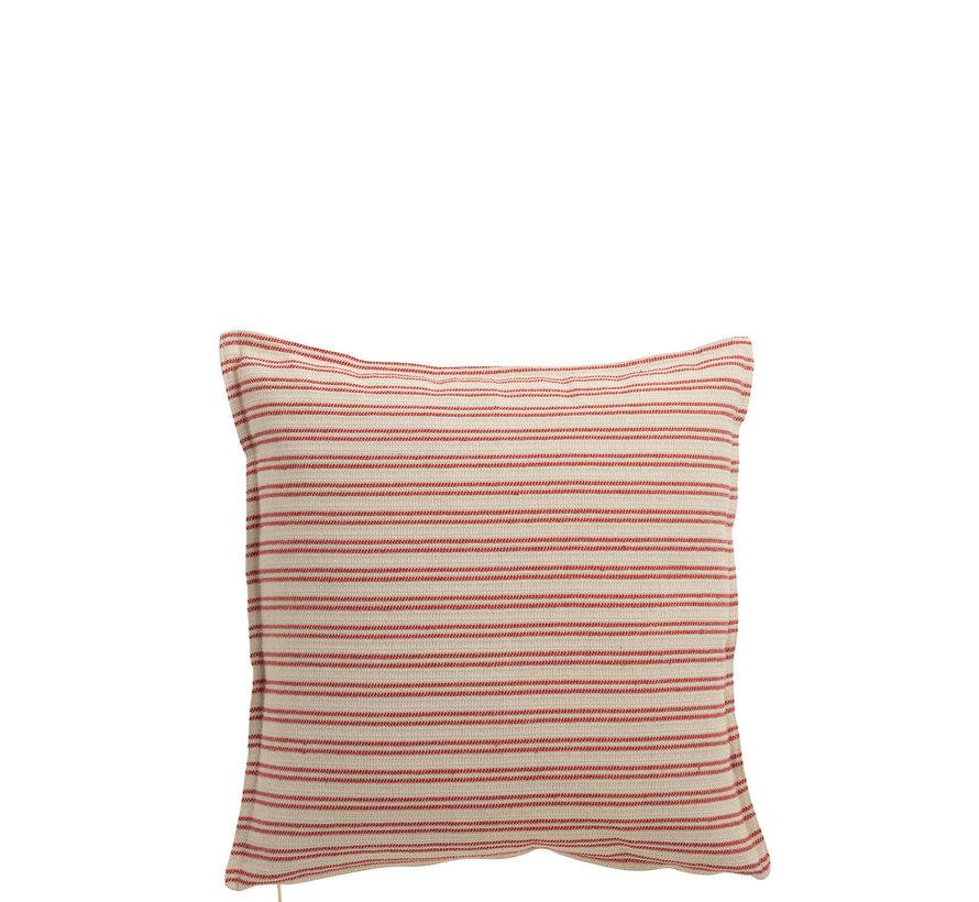 Kussen Polyester Vierkant Strepen Wit - Rood