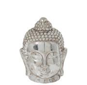 J-Line Decoratie Beeld Boeddha Hoofd Klei Zilver - Large
