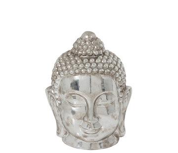 J -Line Decoratie Beeld Boeddha Hoofd Klei Zilver - Large