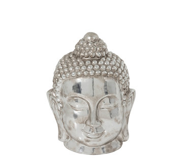 J -Line Decoration Statue Buddha Head Clay Silver - Large