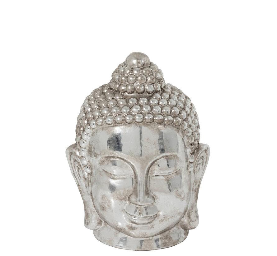 Decoration Statue Buddha Head Clay Silver - Large
