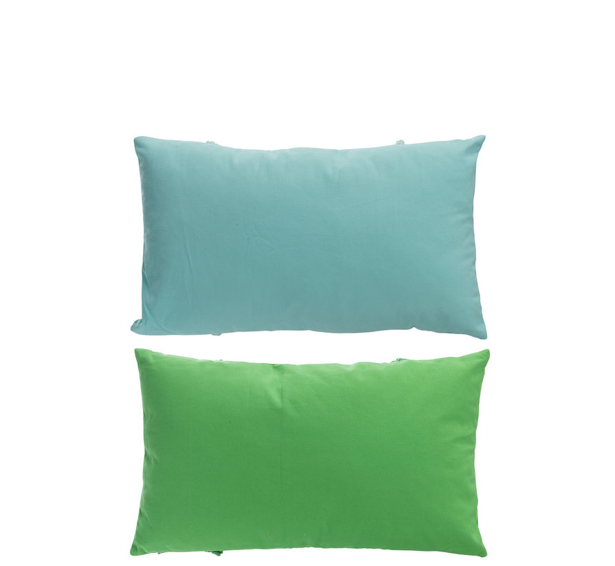 Cushion Polyester Rectangle Tassels Green - Blue