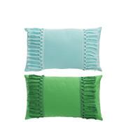 J -Line Kussen Polyester Rechthoek Kwastjes Groen - Blauw