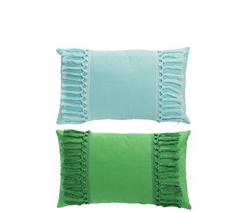 J -Line Cushion Polyester Rectangle Tassels Green - Blue